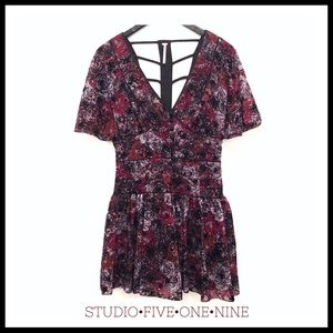 🦋Free People • Dark Floral Velvet Detail Dress